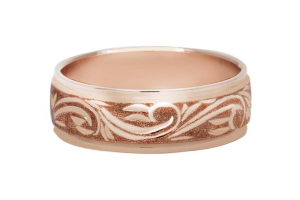 18ct pink gold custom made gents ring by kalfin jewellery
