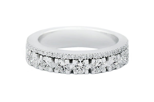 18ct white gold custom made diamond wedding ring by kalfin jewellery