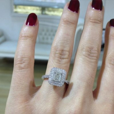 Diamond halo engagement rings by Kalfin Jewellery