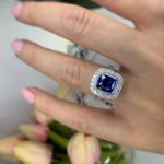 cushion cut blue ceylon sapphire diamond halo engagement rings melbourn e