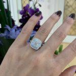 cushion cut double halo diamond engagement ring melbourne
