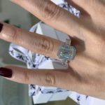 emerald cut diamond halo engagement rings melbourne