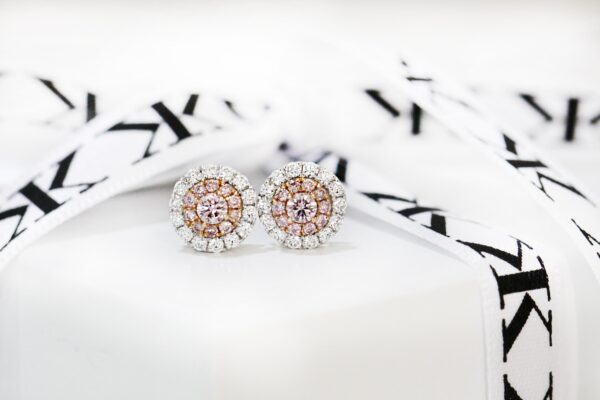 Argyle pink diamond stud earrings by kalfin jewellery,argyle pink diamonds,diamond jewellery