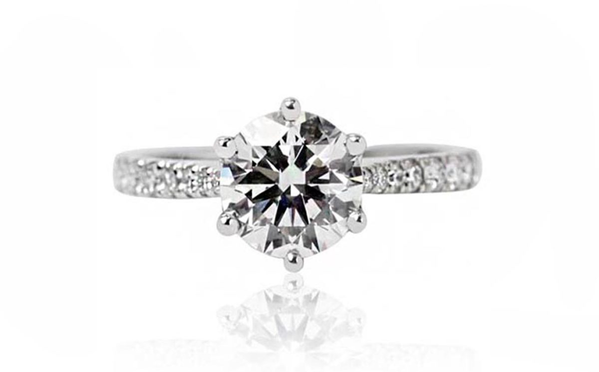 18CT brilliant cut white gold diamond engagement ring