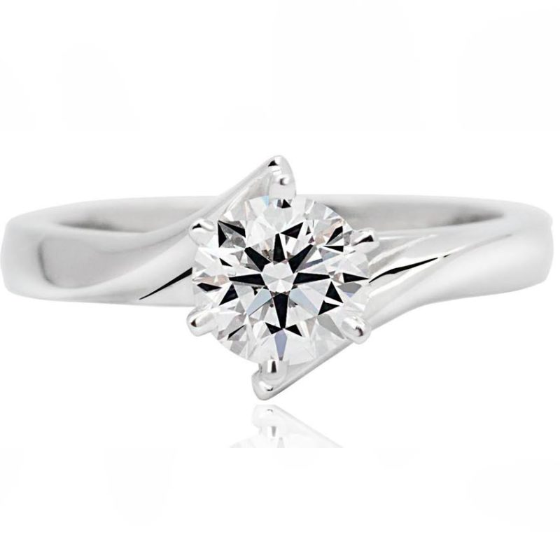 Twist white gold diamond engagement ring