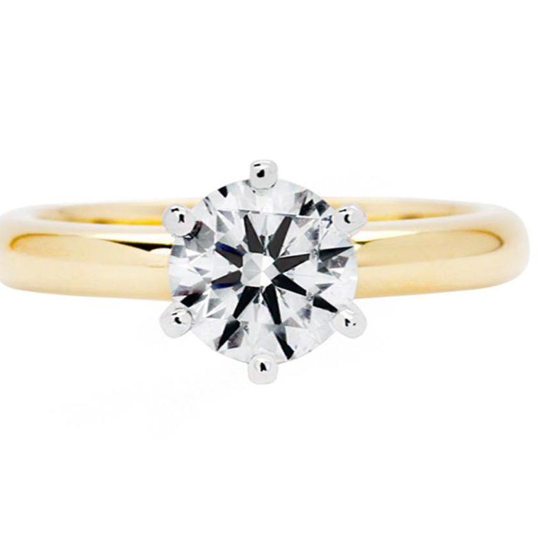 brilliant cut yellow gold diamond engagement ring