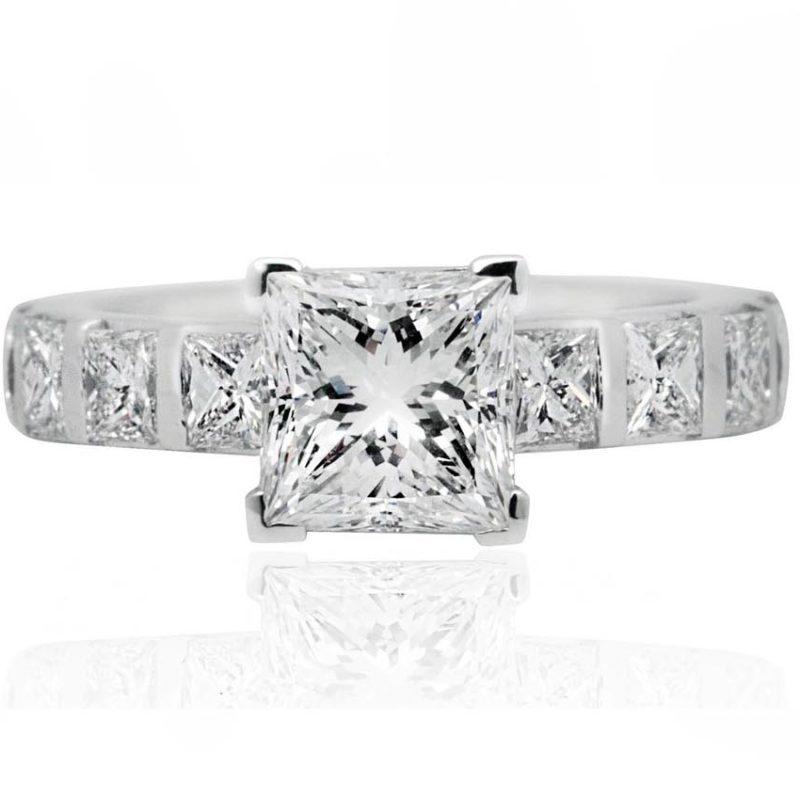 Adele white gold side stone engagement ring
