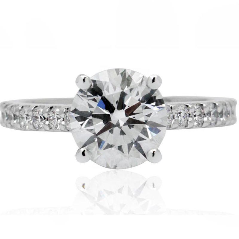 Brilliant cut white gold diamond engagement ring