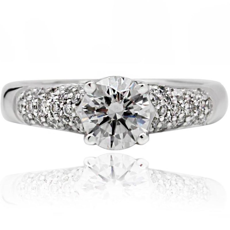 18ct White Gold, Round Brilliant cut diamond with pave setting diamond on the band diamond engagement ring