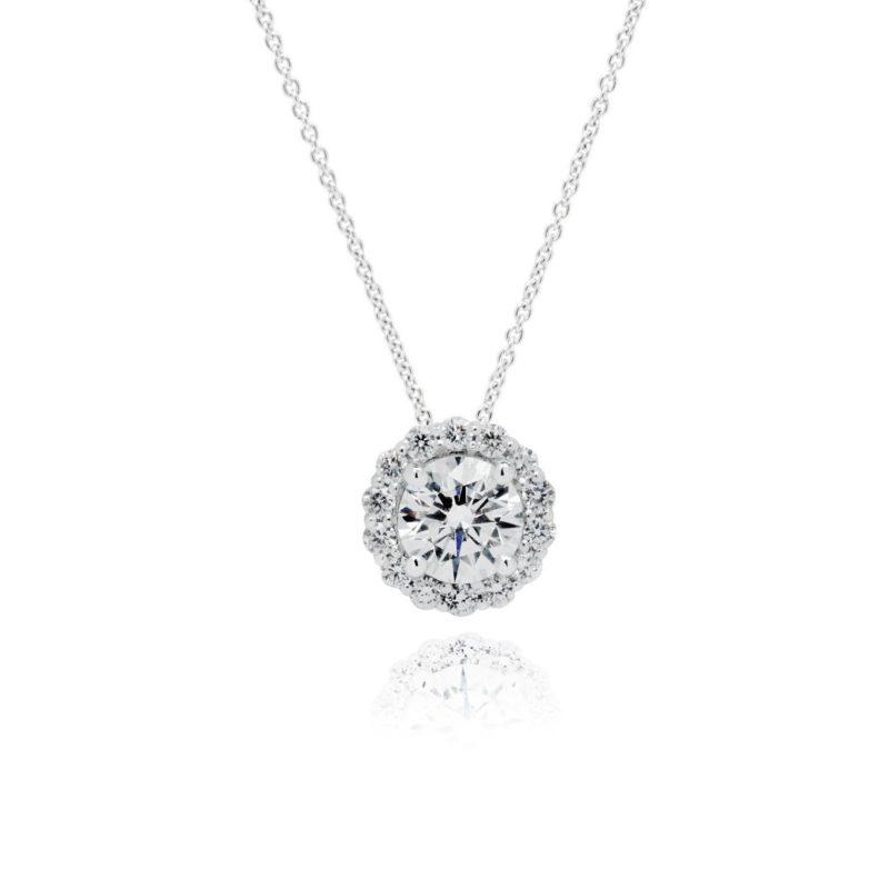 18ct White Gold Round Brilliant cut Diamond halo pendant