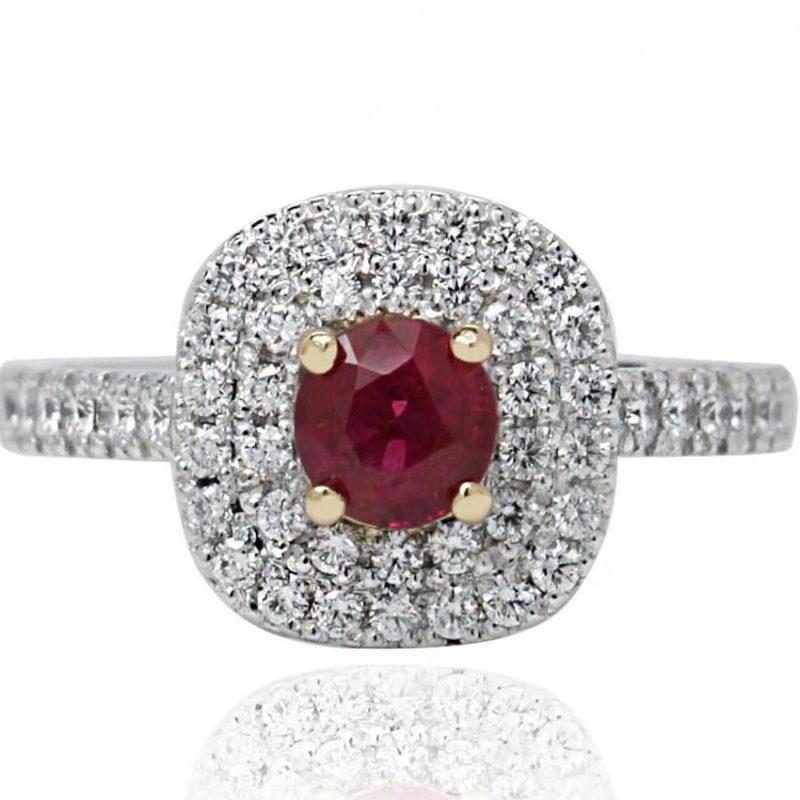 Amanda ruby white gold engagement ring