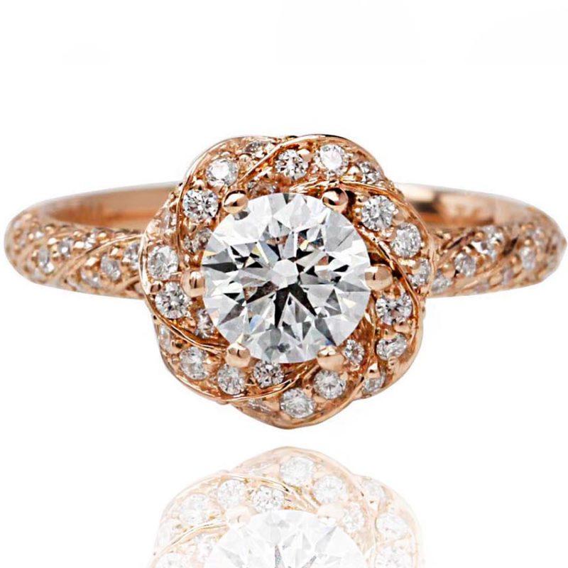Aurora rose gold diamond engagement ring