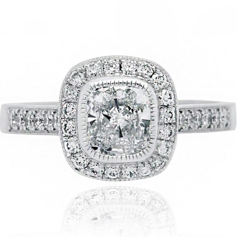 Aster engagement ring with diamonds white gold