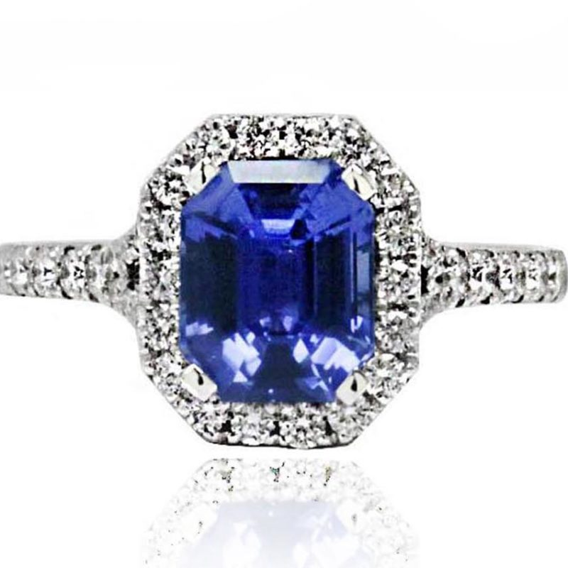 Bleu sapphire white gold diamond engagement ring