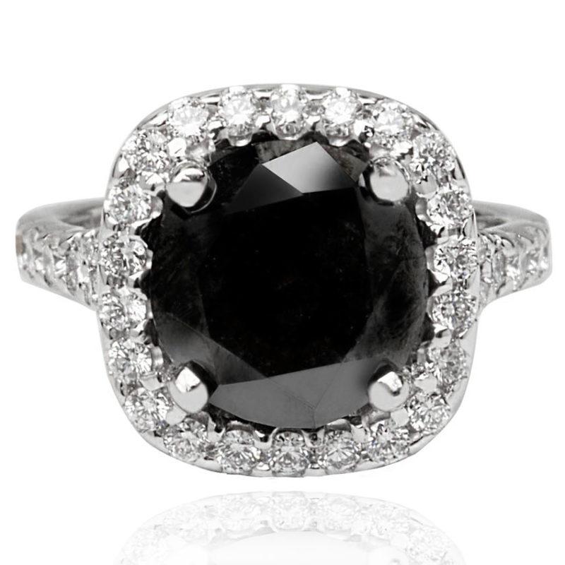 Black diamond white gold diamond engagement ring
