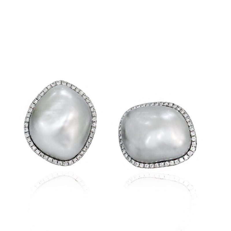 18ct White Gold Baroque South Sea Pearls Diamond halo button earrings