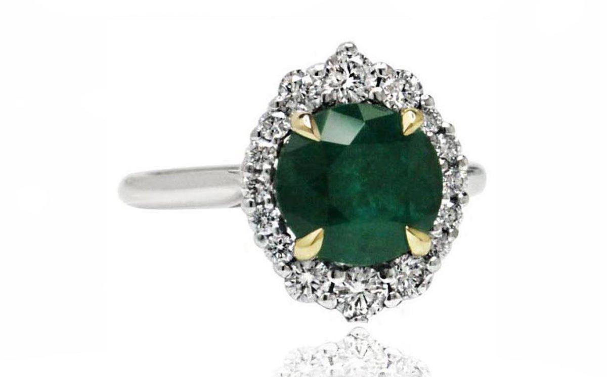 Celine emerald stone white gold diamond engagement ring