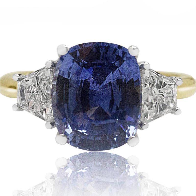 Ceylon Sapphire yellow gold diamond engagement ring