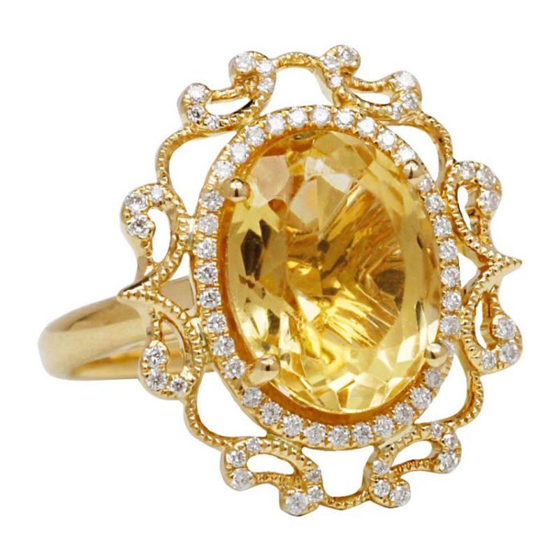 CITRINE 18ct Yellow Gold Custom design Ring