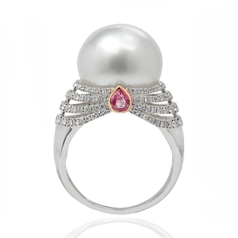 COLETIA Pearl diamond white gold ring