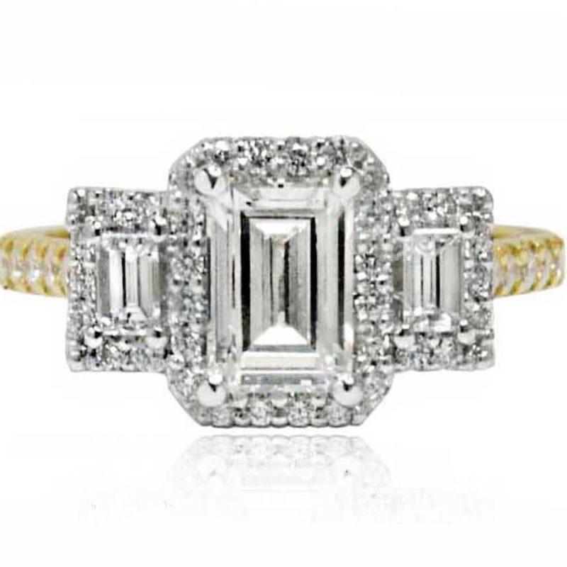 Dahlia 18CT emerald cut gold diamond engagement ring