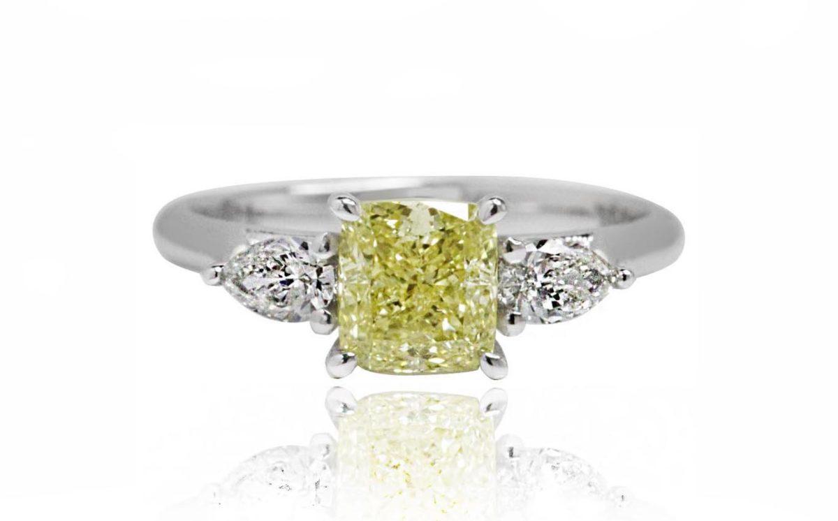 ELLE yellow diamond white gold diamond engagement ring
