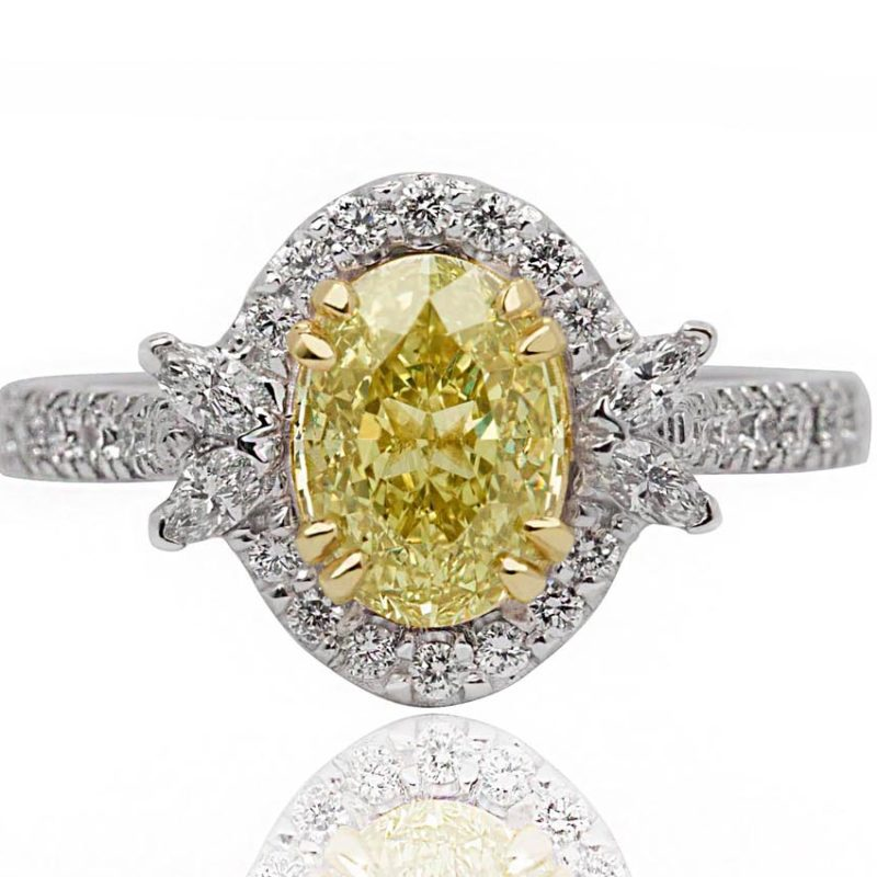 Evelyn yellow diamond white gold diamond engagement ring