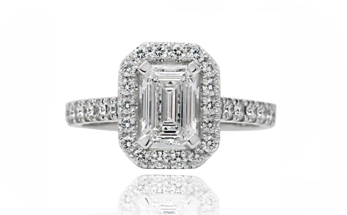 GINEVRA emerald cut white gold engagement ring