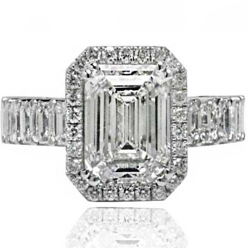 Lily emerald cut diamond ring white gold