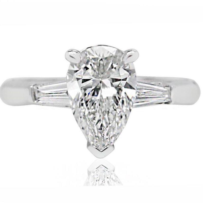 Manolya pear shape white gold diamond engagement ring