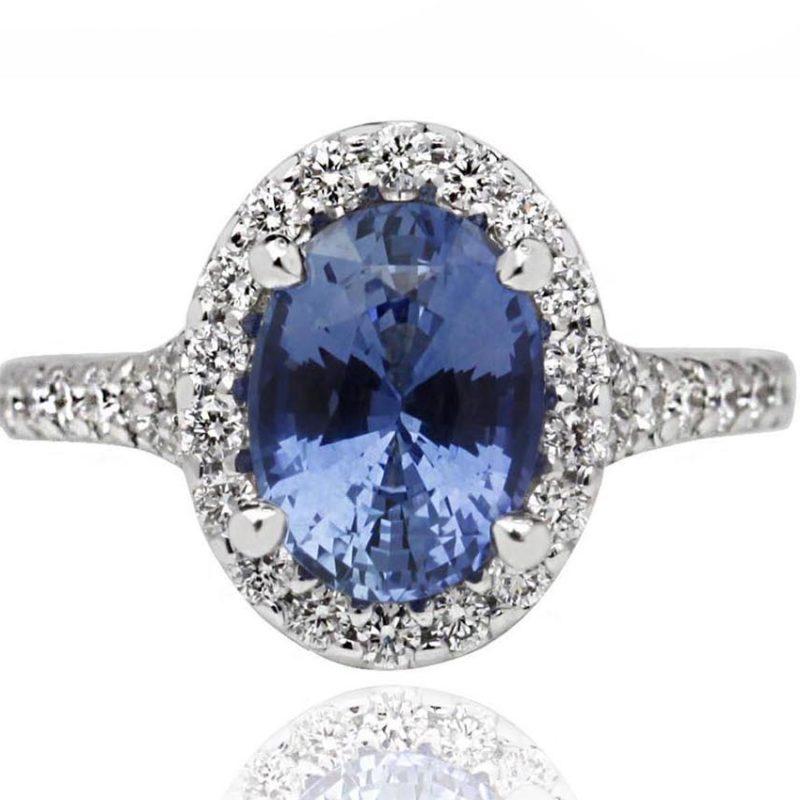 Maya white gold diamond ring with sapphire