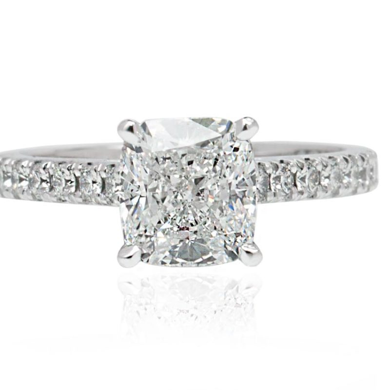 MELO 18ct White Gold Cushion cut diamond with diamond on the band engagement ring