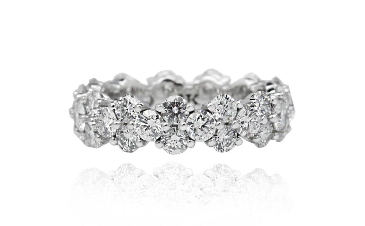 Molly 18ct White Gold Round cut Diamonds Eternity Ring