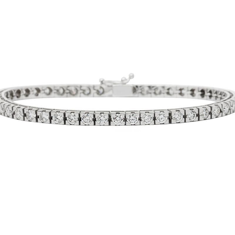 Nuala 18ct White Gold Round Brilliant cut Diamond Tennis Bracelet