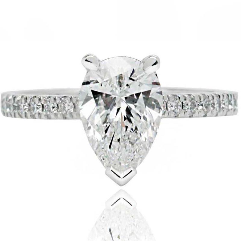 Pear shape white gold diamond engagement ring