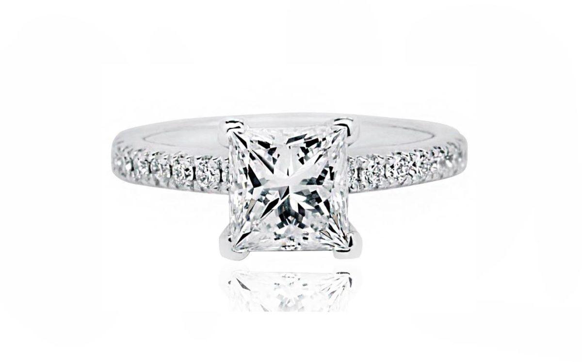 Princess Cut 18CT white gold diamond engagement ring