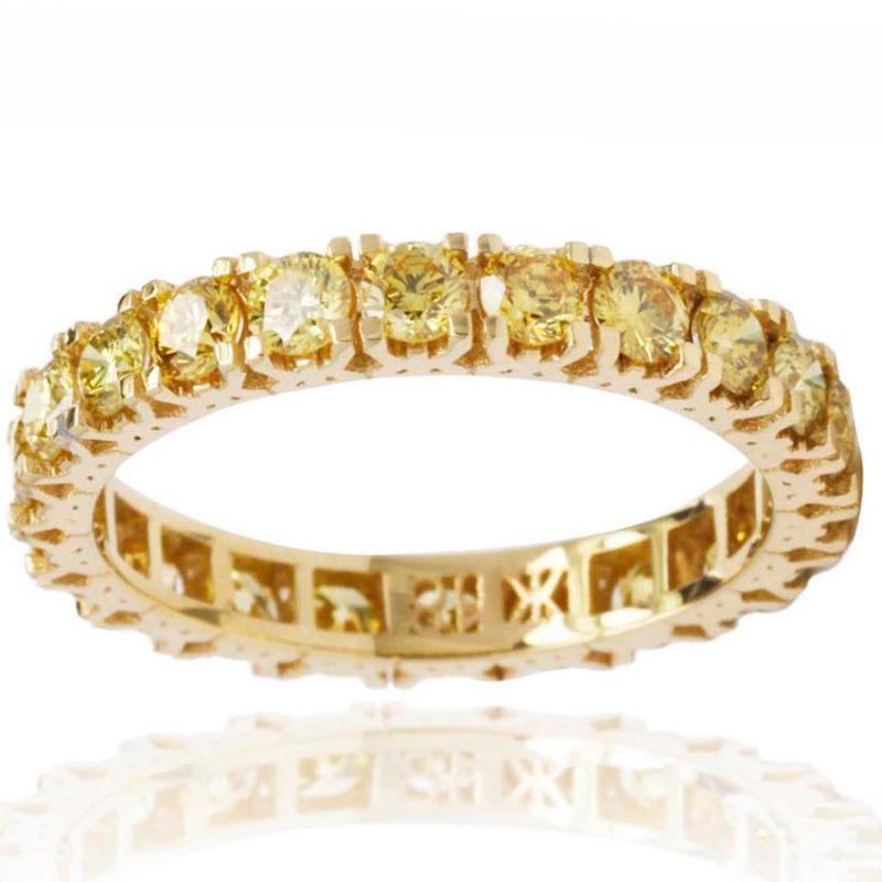 Pansy 18ct Yellow Gold Round Brilliant cut Yellow Diamonds Eternity Ring