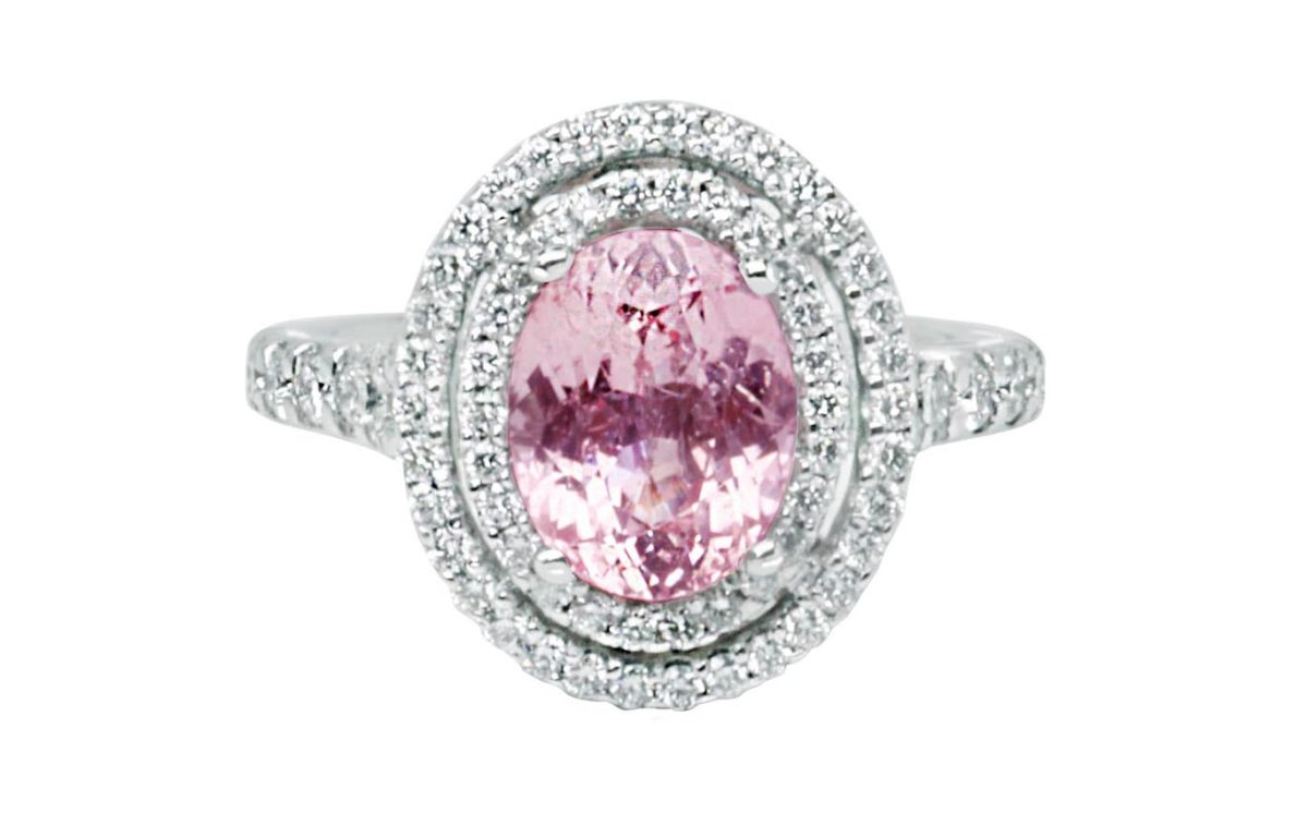 Platinum, Oval cut Pink Sapphire double halo Diamond Dress Ring
