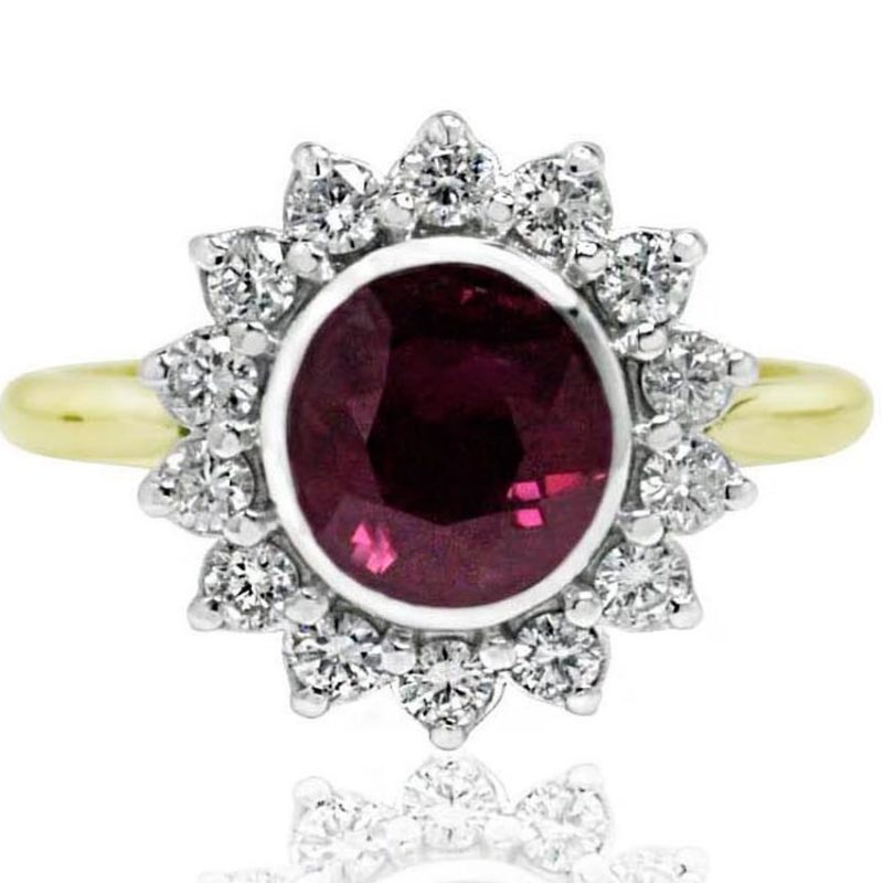 Ruby dress ring yellow gold with diamonds
