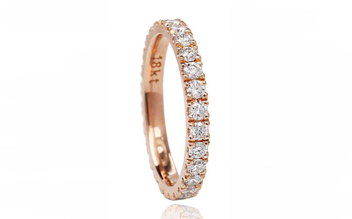 Roza 18CT rose gold diamond ring