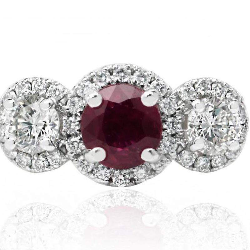 Serena ruby diamond white gold diamond engagement ring