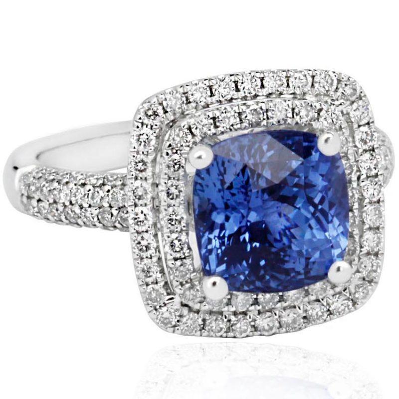 Sky diamond ring with sapphire