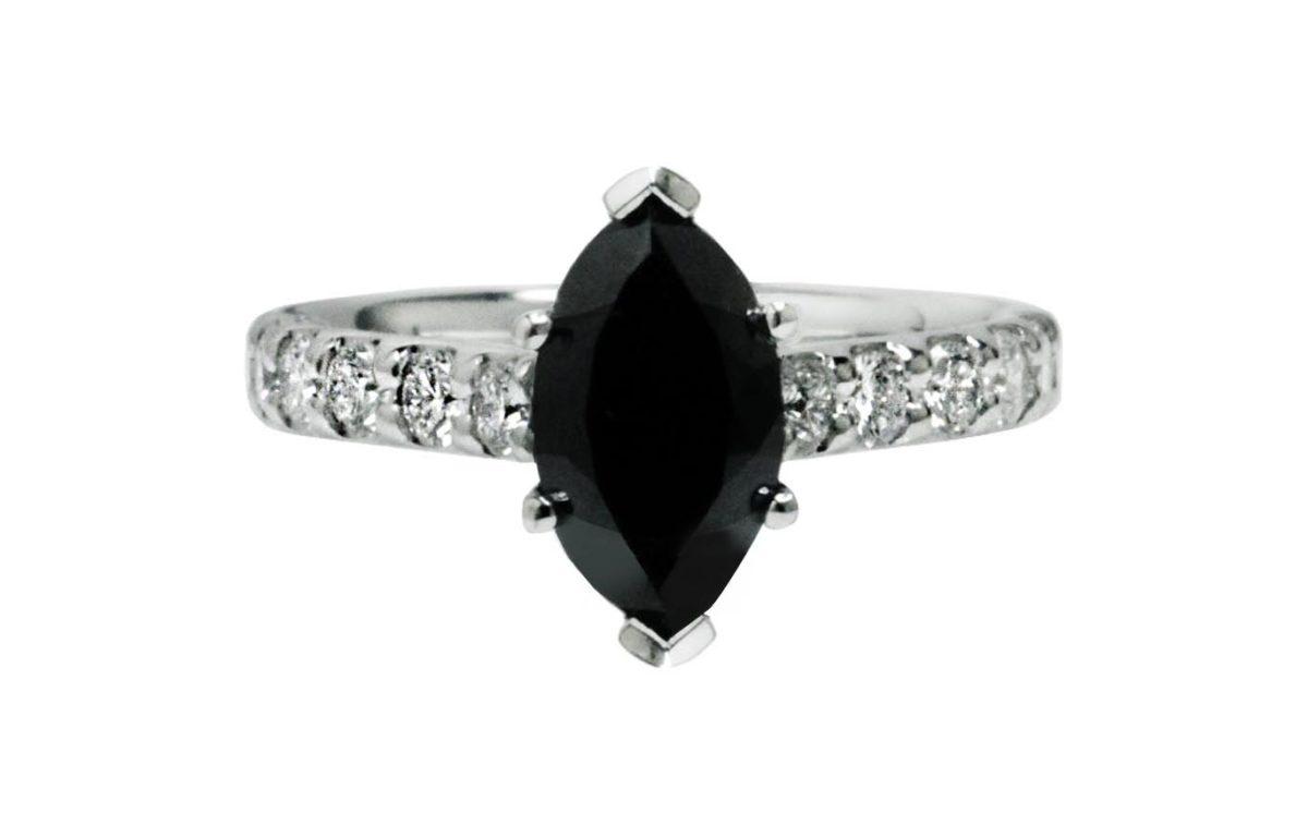 Black Diamond side stones white gold diamond engagement ring