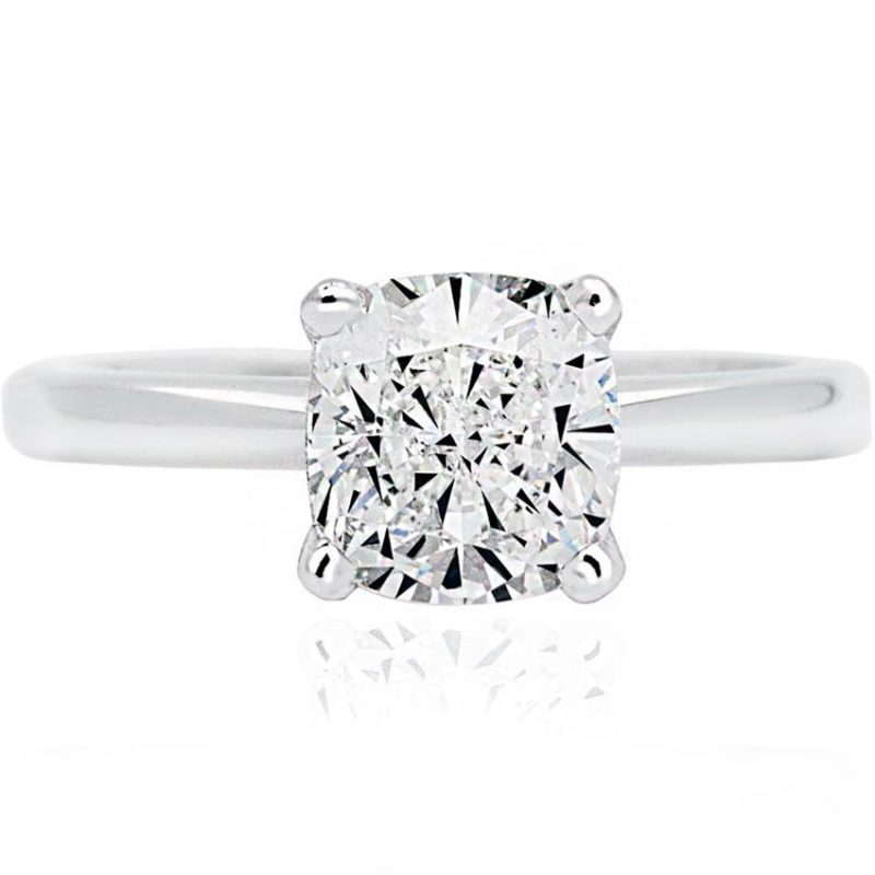 18ct White Gold Cushion cut Diamond Solitaire engagement ring
