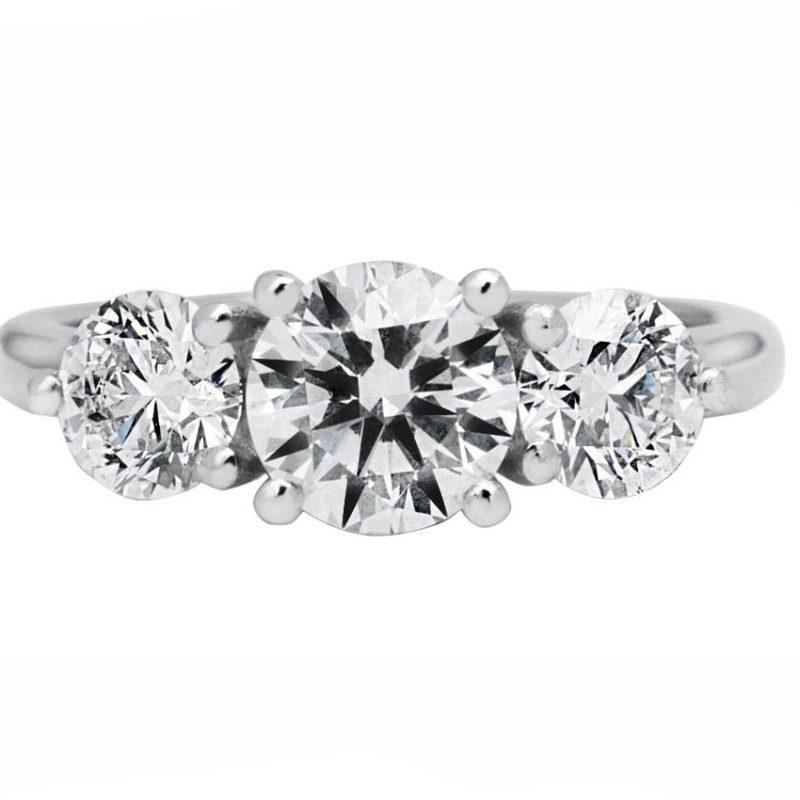 trilogy diamond engagement ring white gold
